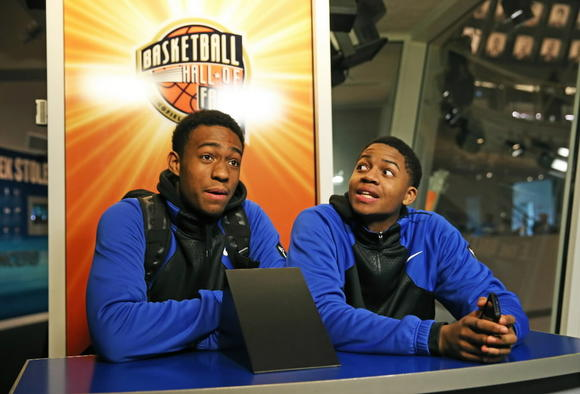 Left, Simeon's Jabari Parker and teammate Dennis Williams in the broadcast booth, on the second floor of the Basketball Hall of Fame, in Springfield, Mass., on Sunday