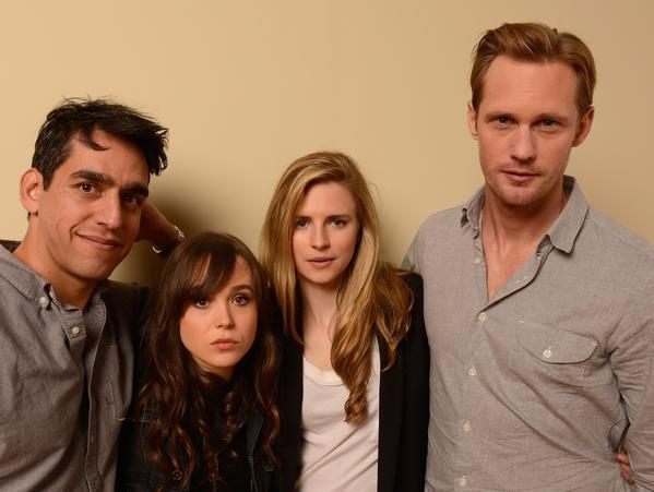 "Director Zal Batmanglij, left, actors Ellen Page, Brit Marling and Alexander Skarsgard of the film ""The East."""