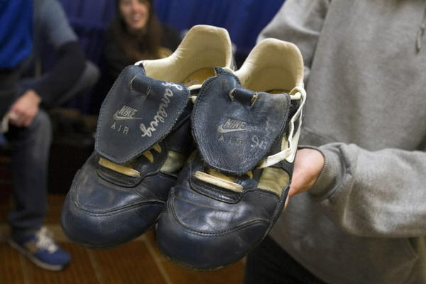 A pair of game-worn Ryne Sandberg shoes were for sale at the Cubs Convention this weekend.