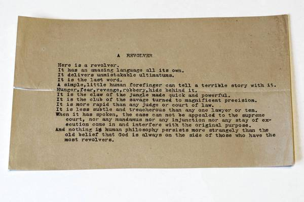 "An unknown poem called ""A Revolver"" by Pulitzer Prize-winning writer Carl Sandburg was recently found in the University of Illinois at Champaign-Urbana. He died in 1967."