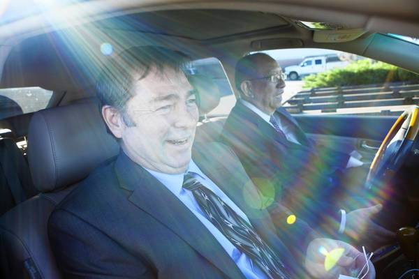 Mike Williams, left, and Dr. Jong Chen head back to Sacramento after meeting with a fiberglass manufacturer that is making their molded survival pods for the displaced and homeless. Williams, an inventor with a number of patents, had lost everything, wound up homeless and crossed paths with Chen after a street beating required surgery.