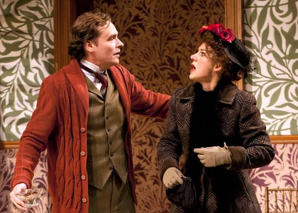 "Robert Sean Leonard as Henry Higgins and Charlotte Parry as Eliza Doolittle in The Old Globe's production of George Bernard Shaw's ""Pygmalion."""
