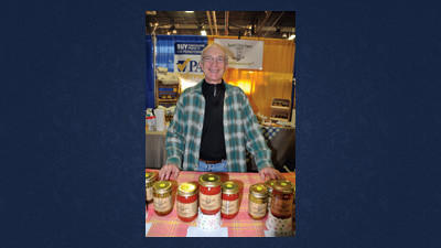 Rick Stafford displays Laurel Vista Farms products at the Pennsylvania Farm Show.