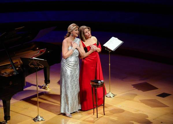 Susan Graham, mezzo-soprano, left, and Renee Fleming, soprano, perform during a Colburn Celebrity Recital at the Walt Disney Concert Hall on Jan. 19, 2013.