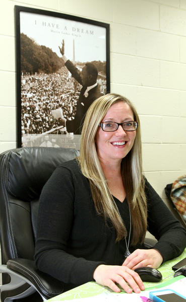 Angel Vermillion, a counselor at Aberdeen Roncalli High School, teaches students about Martin Luther King Jr. American News Photo by John Davis