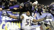 It's been a long wait for Terrell Suggs to exact his revenge on the New England Patriots, and when the Ravens' 28-13 win was complete Sunday, he let loose.