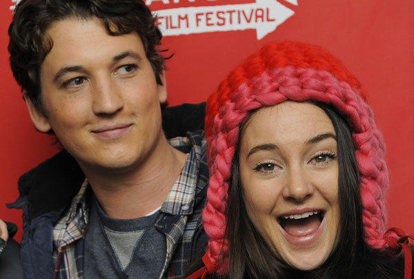"Miles Teller, left, and Shailene Woodley, co-stars of ""The Spectacular Now,"" pose together at the premiere of the film at the 2013 Sundance Film Festival."