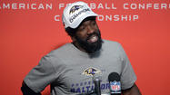 After the Ravens won the AFC championship Sunday evening in New England, Ravens safety Ed Reed had an interesting choice of words before he walked off the podium.