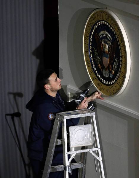The presidential seal is affixed to the podium Monday before the ceremonial inauguration of President Barack Obama at the U.S. Capitol.