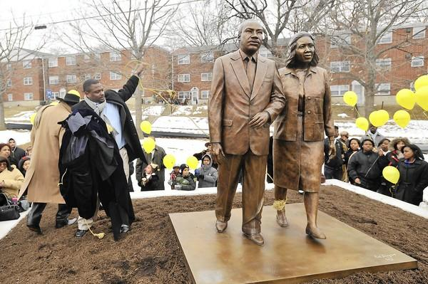 The Martin Luther and Coretta Scott King statue stands at Fourth Street and Martin Luther King Jr. Drive in Allentown.