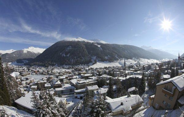 Snow-covered buildings are viewed from the Schatzalp area above the town of Davos, Switzerland, where the business elite are to gather for the 43rd meeting of the World Economic Forum.