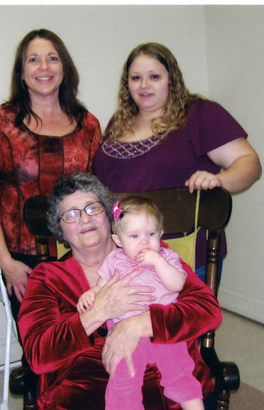 Four generations of a local family are pictured. Standing, from left, are Deneese Myers, grandmother; and Chassidy Keller, mother. Seated are Ruth Westurn, great-grandmother, holding great-granddaughter, Faith Travis Keller.