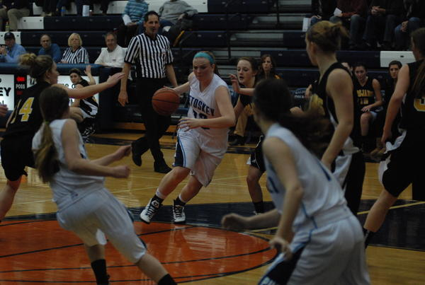 Petoskey senior forward/guard Kelsey Ance (left) had a game-high 24 points Friday as the Northmen defeated Alpena, 62-24, and improved to 9-2 overall, 5-1 league.