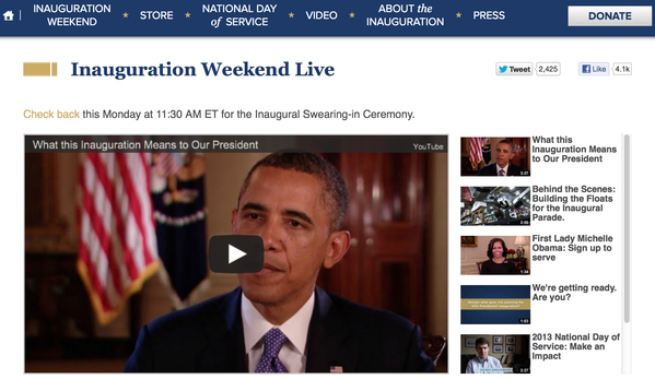 The Presidential Inauguration Committee is one of many websites that will live-streaming Monday's ceremony.