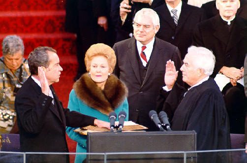 President Nixon is sworn in to his second presidential term by Chief Justice Warren E. Burger on January 20, 1973.