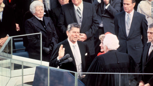 "Ronald Wilson Reagan is sworn in as the 40th president of the United States on January 20, 1981. <a href=""http://www.youtube.com/watch?v=hpPt7xGx4Xo&feature=share&list=SPB247883C1EB850D1"">Watch President Reagan's first inaugural address here</a>"