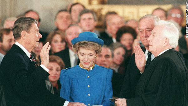 President Reagan is publicly sworn in for his second presidential term by Supreme Court Chief Justice Warren Burger on January 21,1985. Since January 20 was a Sunday that year, the official swearing in of Ronald Reagan took place privately in the White House.