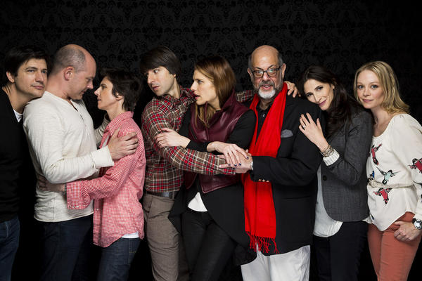 "The cast of ""In a World"": Ken Marino, left, Rob Corddry, Tig Notaro, Demetri Martin, Lake Bell, Fred Melamed, Michaela Watkins and Alexandra Holden."