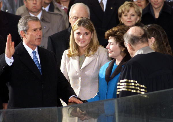 "George Walker Bush is sworn in as the 43rd president of the United States by U.S. Supreme Court Chief Justice William Rehnquist on January 20, 2001.  <a href=""http://www.youtube.com/watch?v=rXzgMdj5urs"">Watch Bush's inaugural address here</a>"