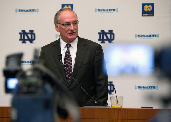 Notre Dame athletic director Jack Swarbrick addresses the media about a hoax involving the girlfriend of football player Manti Te'o on Jan. 16.