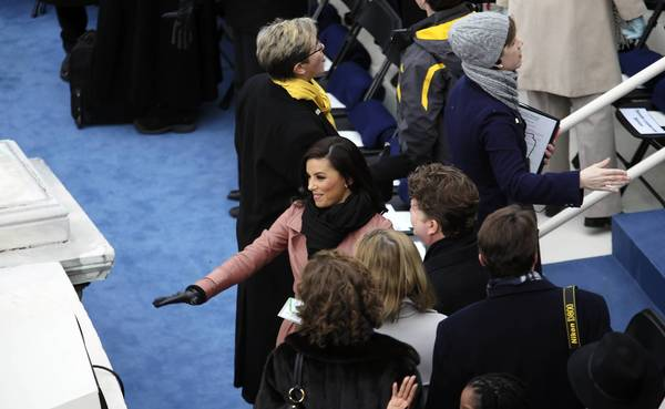 Actress Eva Longoria, center, arrives for the ceremonial inauguration of President Obama at the U.S. Capitol.
