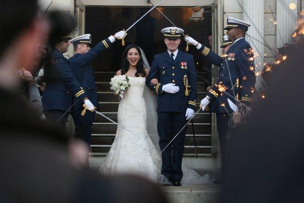 Michelle Kwan and Clay Pell leave the First Unitarian Church in Providence, R.I., after getting married.