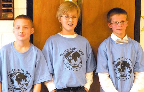 Old Forge Elementary School geography bee winners, from left, Tyler Cook, third place; Jakob Keller, first place; and Nick Bono, second place.