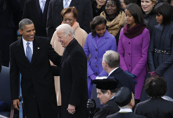 President Barack Obama and Vice President Joe Biden and their families arrive for their inauguration at the U.S. Capitol today.