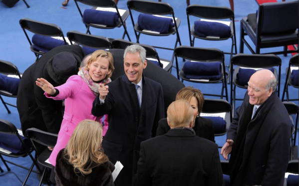 Chicago Mayor Rahm Emanuel and wife Amy Rule, greet other dignitaries, including Bill Daley, before the ceremonial inauguration of President Obama at the U.S. Capitol in Washington.