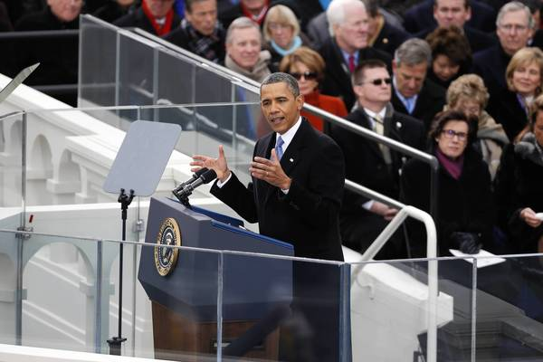 U.S. President Barack Obama delivers his Inaugural speech during ceremonies on the West front of the U.S Capitol in Washington.
