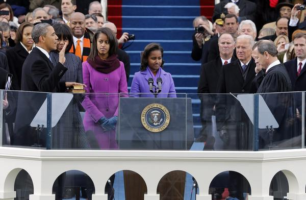 "President Obama is publicly sworn in to his second presidential term by Supreme Court Chief Justice John Roberts on January 21, 2013. <a href=""http://www.c-spanvideo.org/program/InaugurationCe"">Watch President Obama's second inaugural address here</a>"