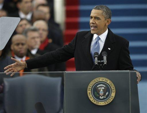 President Barack Obama speaks at his ceremonial swearing-in at the U.S. Capitol on Monday during the 57th Presidential Inauguration in Washington, D.C.