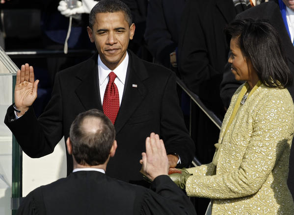 "Barack Hussein Obama II is sworn in as the 44th president of the United States on January 20, 2009. Obama becomes the first African-American to be elected to the office of President in the history of the United States. <a href=""http://www.c-spanvideo.org/clip/2604"">Watch President Obama's first inaugural address here</a>"