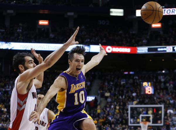 Los Angeles Lakers' Steve Nash (R) is guarded by Toronto Raptors' Jose Calderon during the second half of their NBA basketball game in Toronto, January 20, 2013.