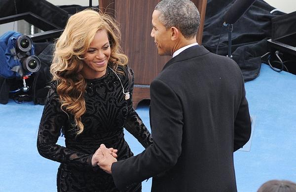 President Obama greets Beyonce after her rendition of the national anthem at the inauguration.