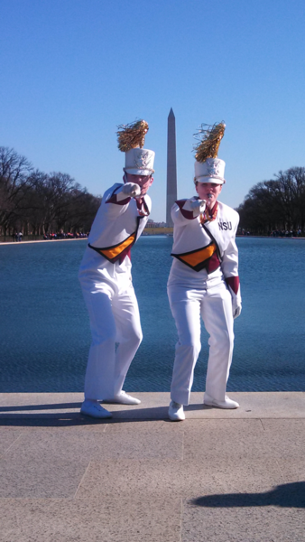 On Sunday, the Marching Wolves visited the reflecting pool near the Lincoln monument. Above are drum majors Brandon Sieck of Onida and Amy Wietgrefe of Britton. Photo courtesy Boyd Perkins
