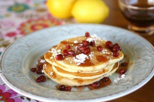 Ricotta pancakes with pomegranate syrup.