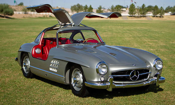 This 1955 Mercedes-Benz 300SL Gullwing Coupe, once owned by actor Clark Gable, was sold by Barrett-Jackson for $2,035,000.