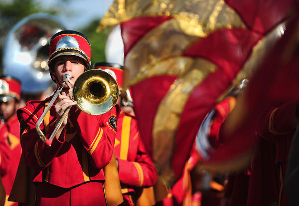 The Deerfield Beach High School Marching Bucks band is seen during the Martin Luther King Day parade in Deerfield Beach.