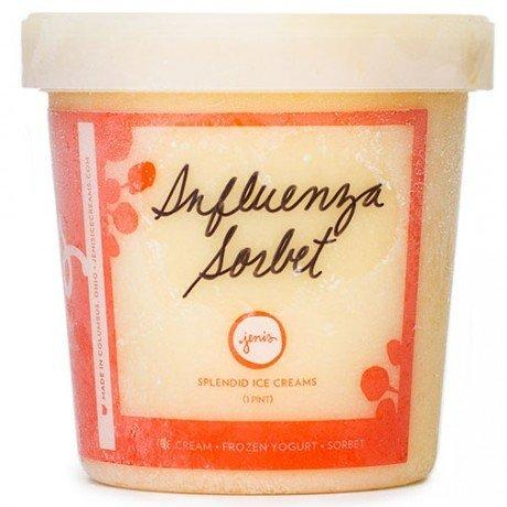 Jeni's Splendid Ice Creams makes Influenza Sorbet with lemon, ginger, honey and bourbon.