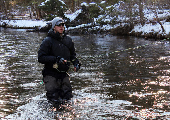 Travel to northern Michigan for winter fly fishing