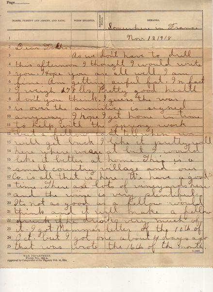 "A soldier writes home to Nebraska from ""Somewhere in France,"" a small village surrounded by vineyards. ""The wine is very plentiful,"" but ""not as good as a fellow would think and would make a fellow drunk if he drinks very much of it."""