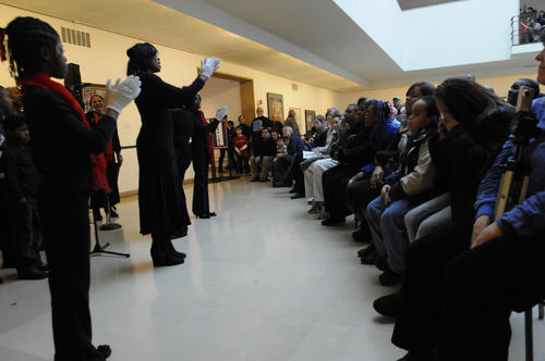 The Lift Every Voice and Sing Gospel Choir perform in Avery Court at the Hartford Atheneum.