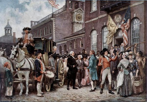President Washington arrives at Congress Hall in Philadelphia to be sworn in to a second term on March 4, 1805.