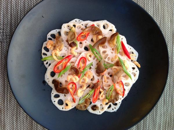 "Lotus root salad from British cookbook author Fuchsia Dunlop's new book, ""Every Grain of Rice: Simple Chinese Cooking."""