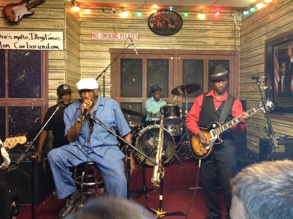 "Martin Walters, drums, and William ""MoBetta"" Ledbetter on guitar at the Chicago nightclub Kingston Mines. Walters and Ledbetter were in Chicago to attend Blues Camp, a week-long music program for youth."