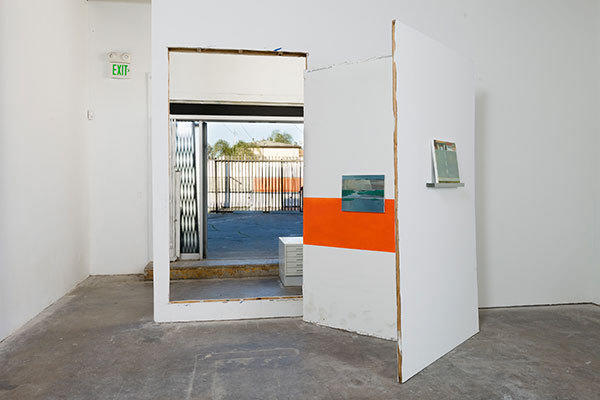 "Lisa Sigal, ""Opus Mixtum, LA"" 2013, wall opening, paper and paint on interior and exterior, dimensions variable."