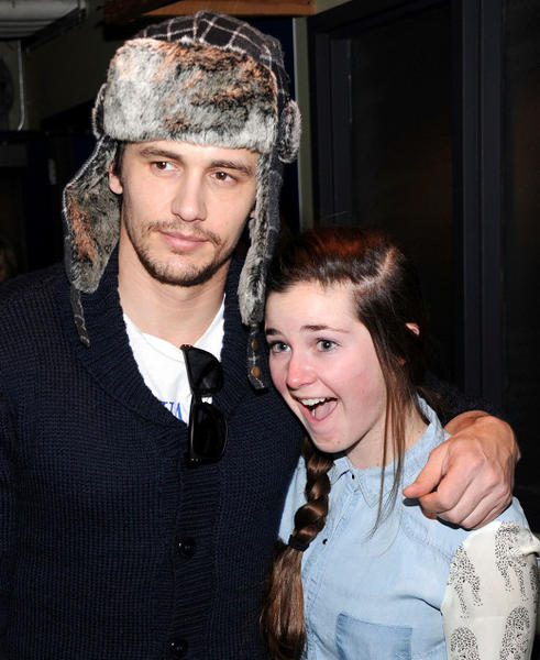 Sundance Film Festival 2013 celebrity sightings: James Franco poses with a fan during Day 3 of Village At The Lift at Sundance 2013.