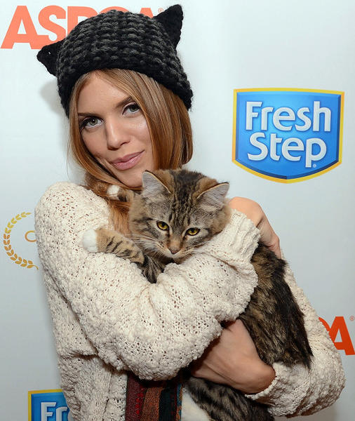 AnnaLynne McCord debuts a cat-inspired hat to benefit the ASPCA at the Fresh Step Catdance Film Festival at Sundance 2013.