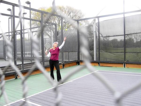 Marcia Kenner at the Winnetka Park District's platform tennis facility at Skokie Playfield.